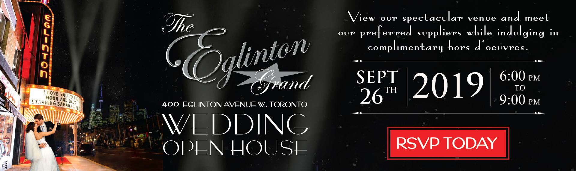 Toronto Wedding Open House Event Venue Hall Theatre Ballroom Reception Bridal Shower Ceremony